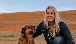 Cori Slingerland in Lander, Wyoming with dog outside
